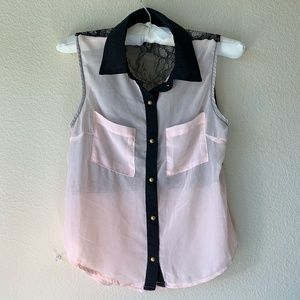 Pink Sheer Sleeveless With Black Lace Back Top